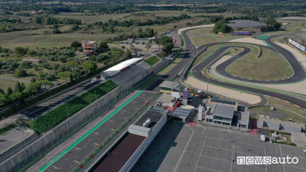 Vista aerea dell'Autodromo di Vallelunga nel 2019 (foto copyright NEWSAUTO)