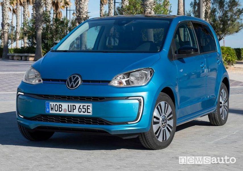 Vista di profilo Volkswagen e-up! 2020 blu