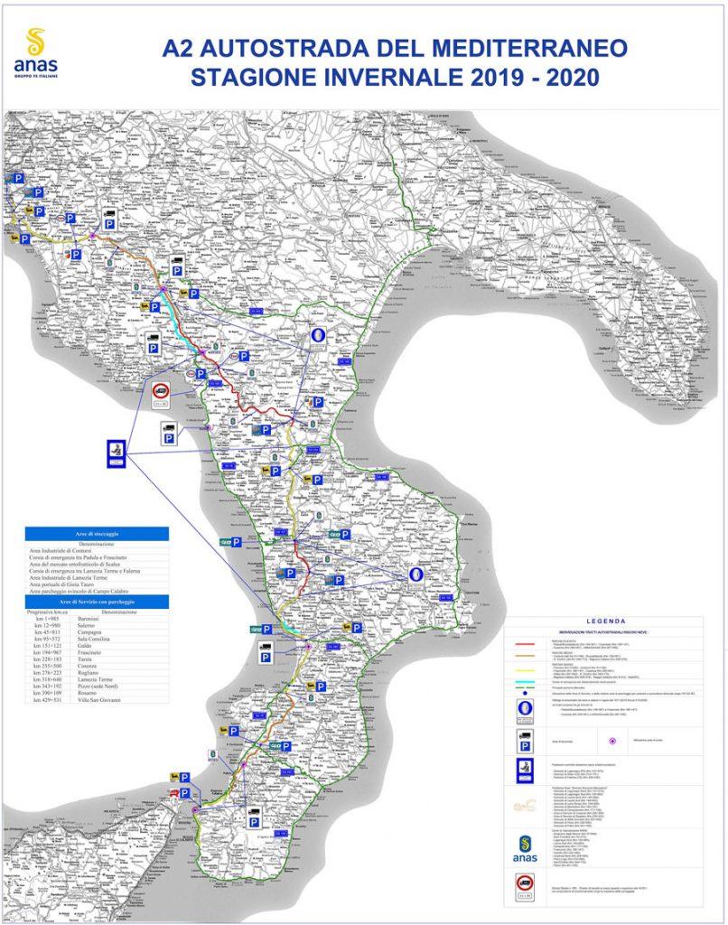 Piano neve autostrada A2 Salerno Reggio Calabria , mappa