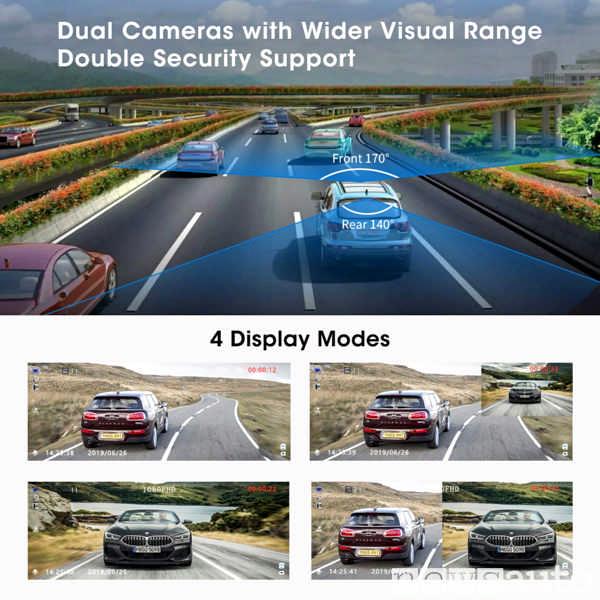 Dash Cam con 4 display mode