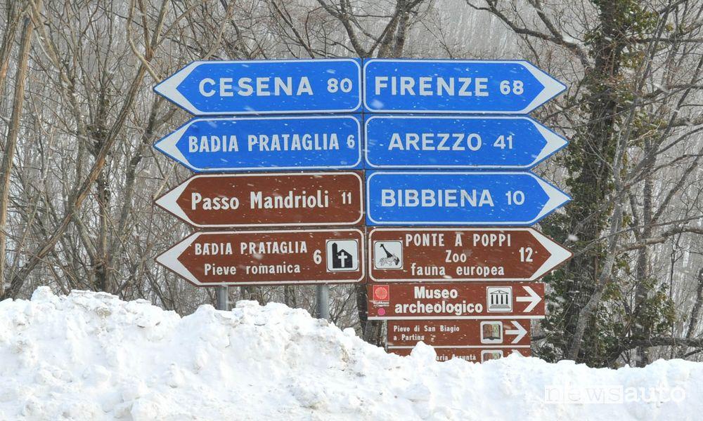 Segnaletica neve Toscana strada