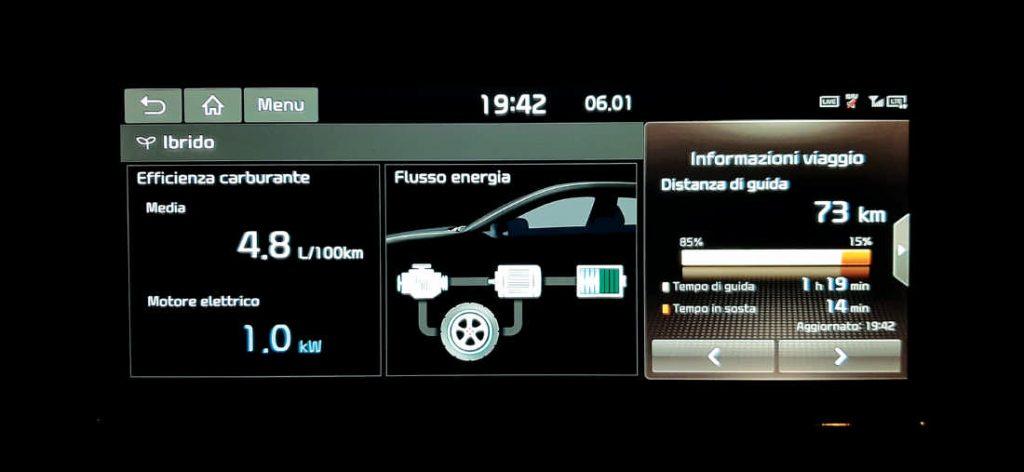 """Il monitor da 10"""" multiscreen con 3 visioni contemporanee sulla Kia Niro Hybrid"""