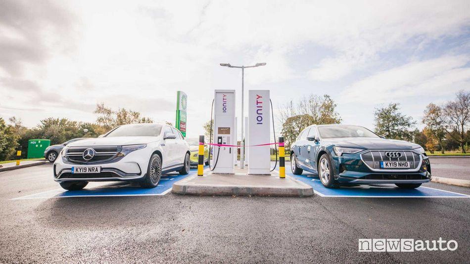 Prezzo ricarica fast DC auto elettriche Mercedes-Benz e Audi