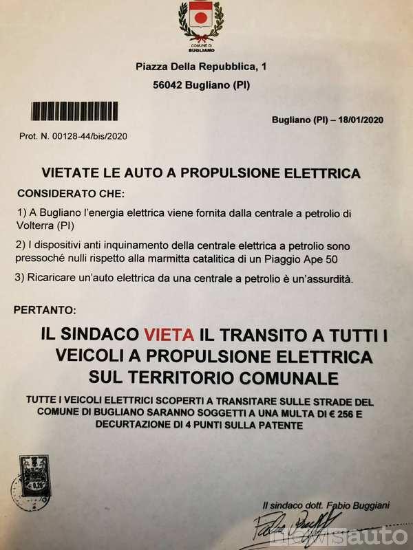 Ordinanza del Comune di Bugliano sul divieto di circolazione alle auto elettriche