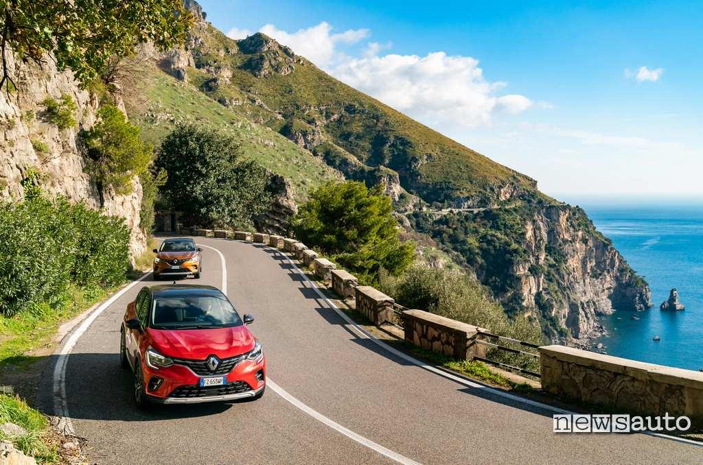 Prova su strada Renault Captur 2020 lungo la costiera amalfitana