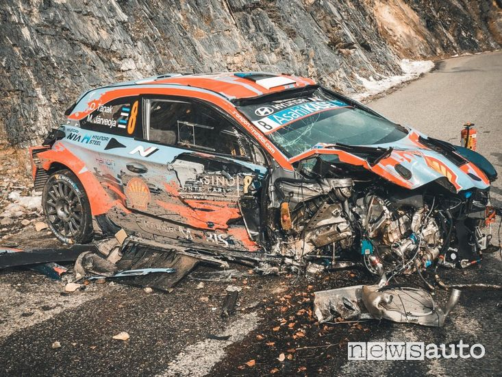 Ott Tanak Hyundai incidente Rally di Montecarlo 2020