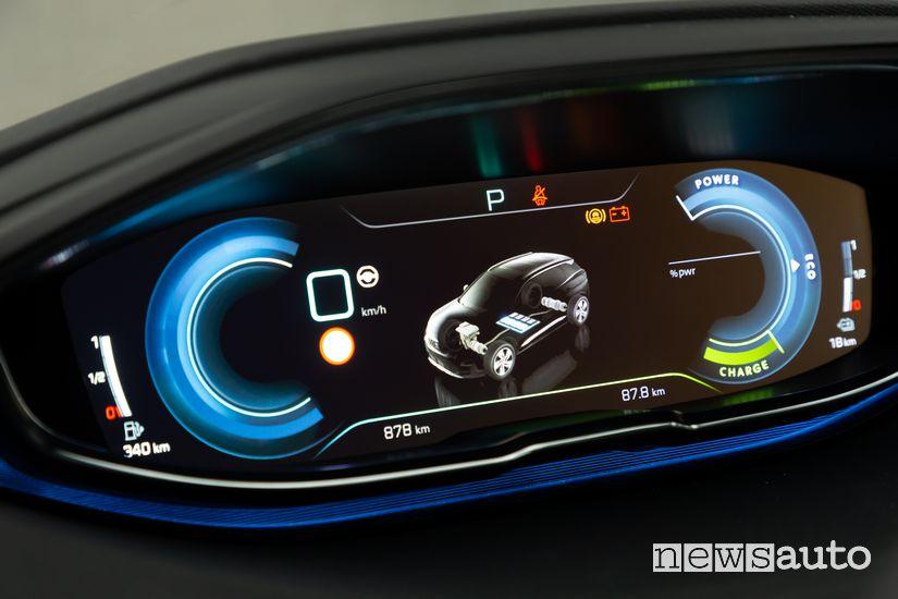 Schermata sistema ibrido quadro strumenti Peugeot 3008 Hybrid4 Plug-In