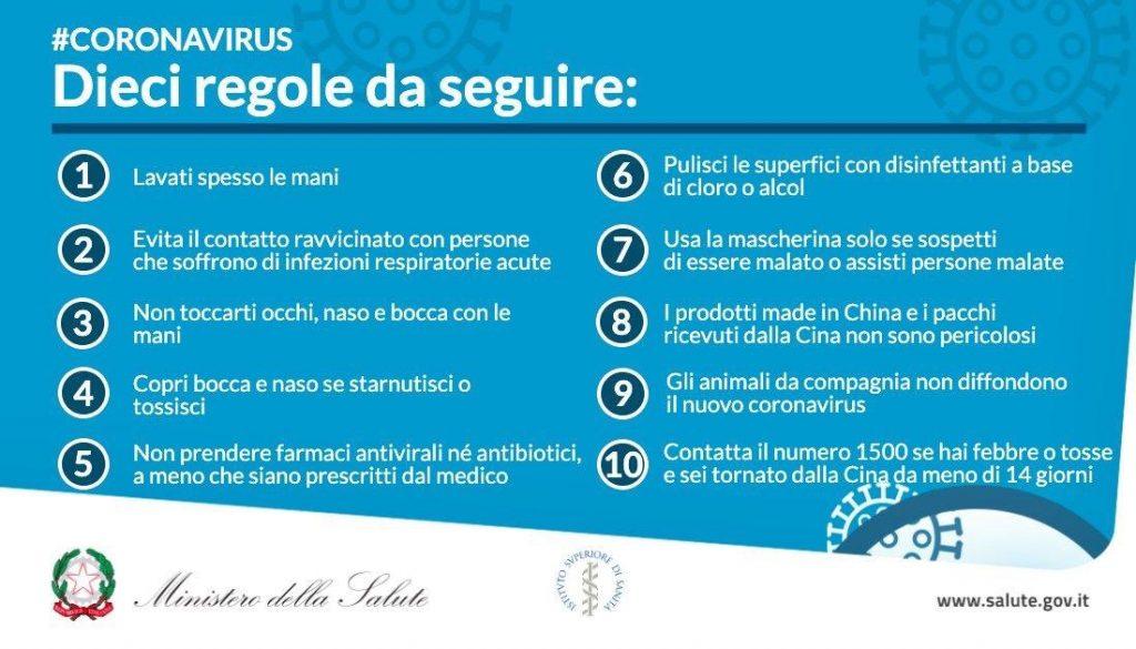 Vademecum prevenzione contagio Coronavirus