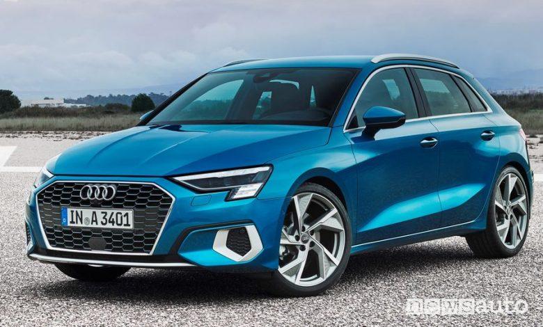 Vista di profilo Audi A3 Sportback 2020