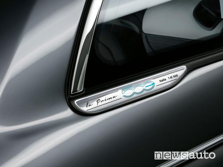 Badge identificativo Fiat 500 elettrica cabrio La Prima