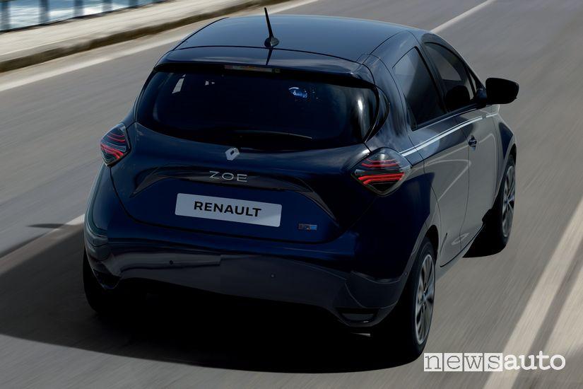 Vista posteriore Renault Zoe Riviera serie speciale tinta Blu Notte
