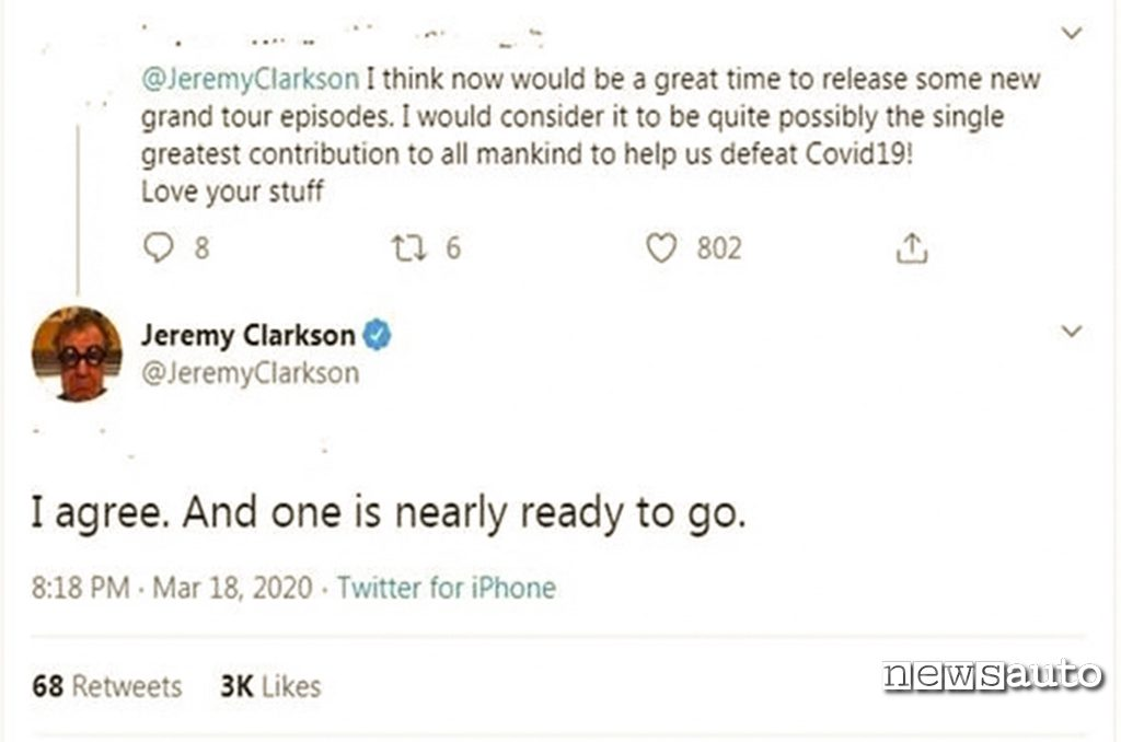 The Grand Tour presentatore Jeremy Clarkson annuncia quarta stagione su Twitter
