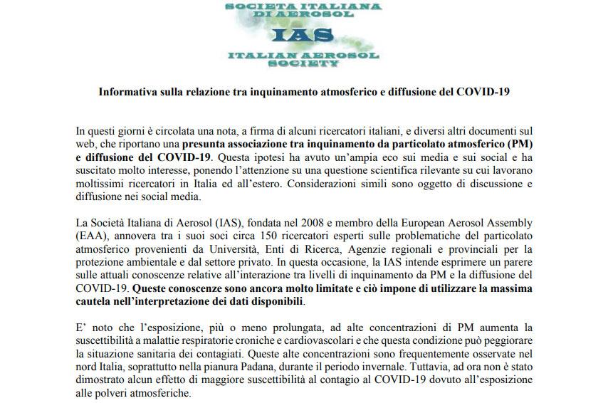 Informativa IAS relazione inquinamento diffusione Coronavirus Covid-19