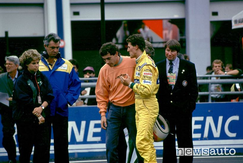 Ayrton Senna e Michael Schumacher a Magny Cours nel 1992