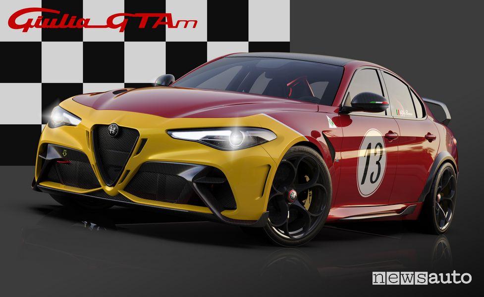 Vista di profilo Alfa Romeo Giulia GTAm livrea Rosso GTA con il frontale ocra