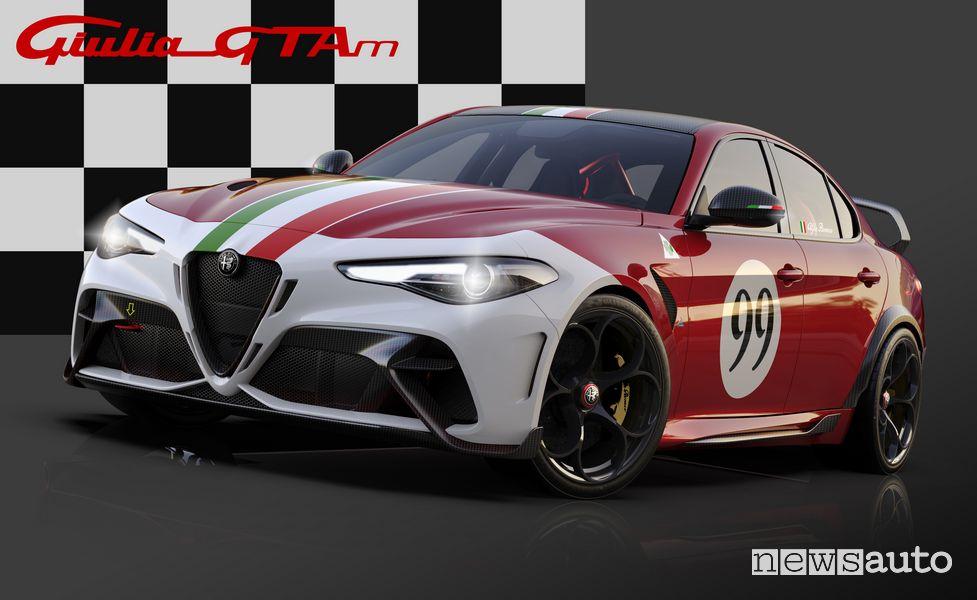 Vista di profilo Alfa Romeo Giulia GTAm livrea Rosso GTA con il tricolore sul cofano