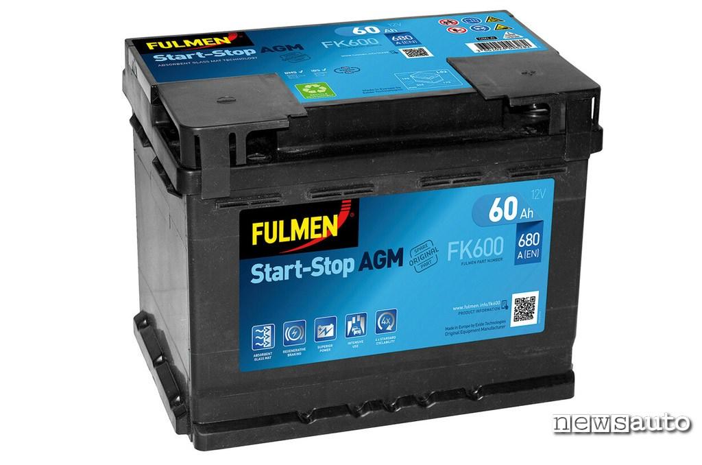 Batteria auto start e stop con capacità e resistenza nel tempo maggiore che si carica più lentamente. (AGM Fulmen FK600 Lampa)