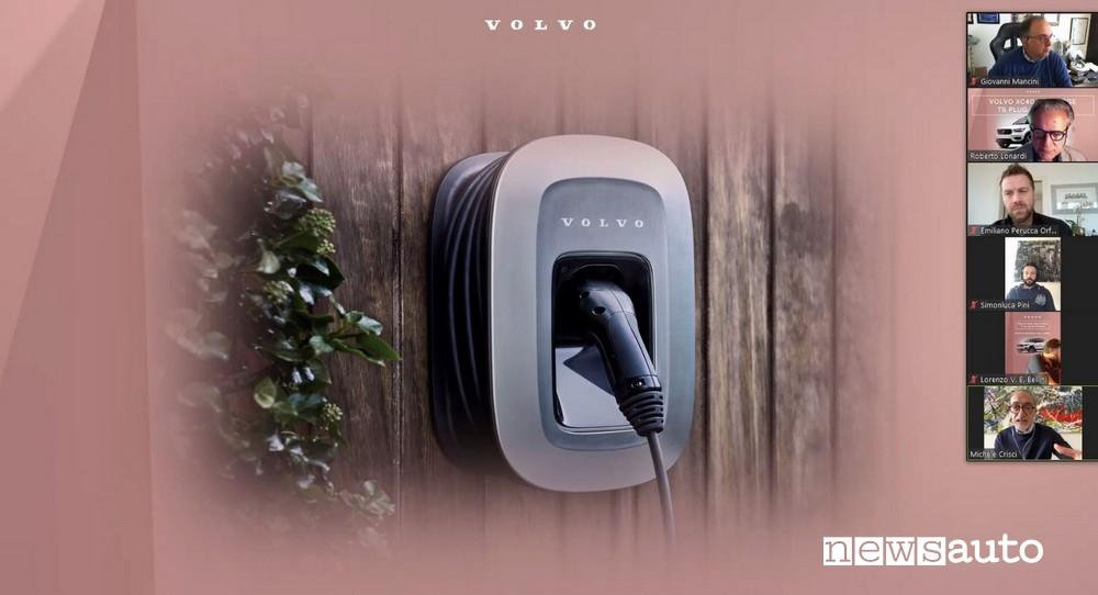 Durante il meeting Volvo su Zoom con i giornalisti del settore, un momento in cui si illustra la wallbox utilizzata per caricare la batteria della XC40 Hybrid Plug-in- Una videoconferenza su zoom