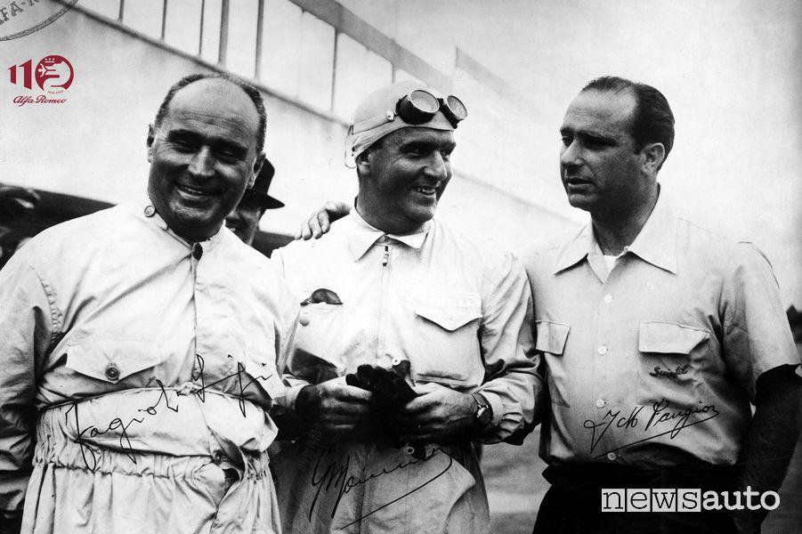 Fagioli, Farina, Fangio, piloti Alfa Romeo in Formula 1 nel 1951