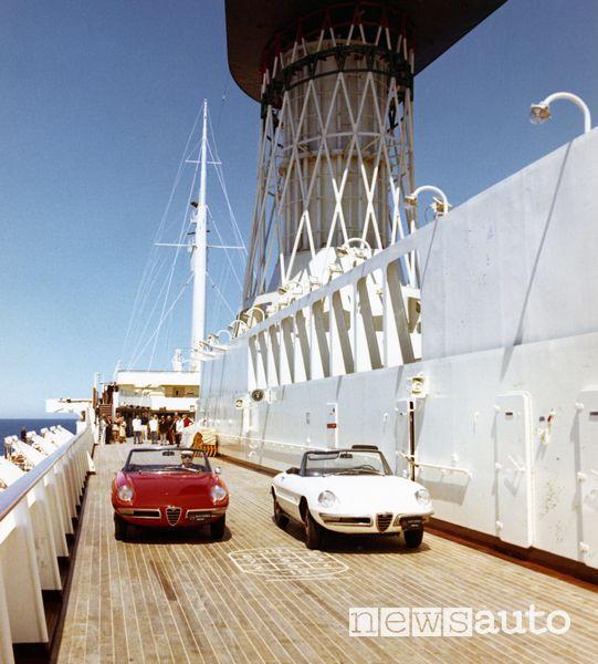 Presentazione Alfa Romeo Spider 1600 su nave da crociera Raffaello, 1966