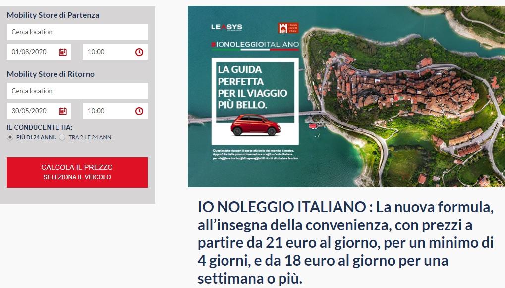 Noleggio auto Leasys prezzi e sconti Io Noleggio Italiano