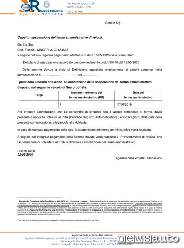 Documento emesso dall'AGER con cui richiedere al PRA la SOSPENSIONE del FERMO amministrativo sull'auto