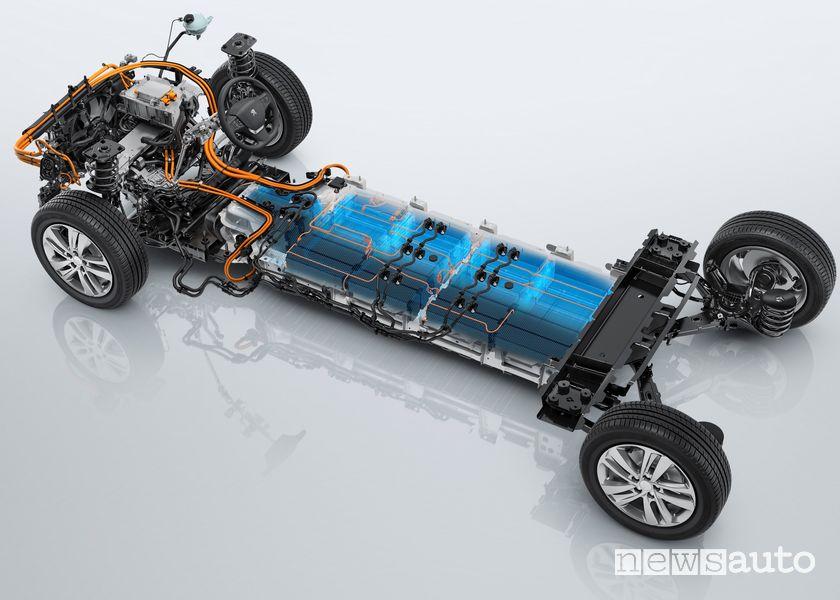 Motore e batteria piattaforma EMP2 Peugeot e-Traveller elettrico