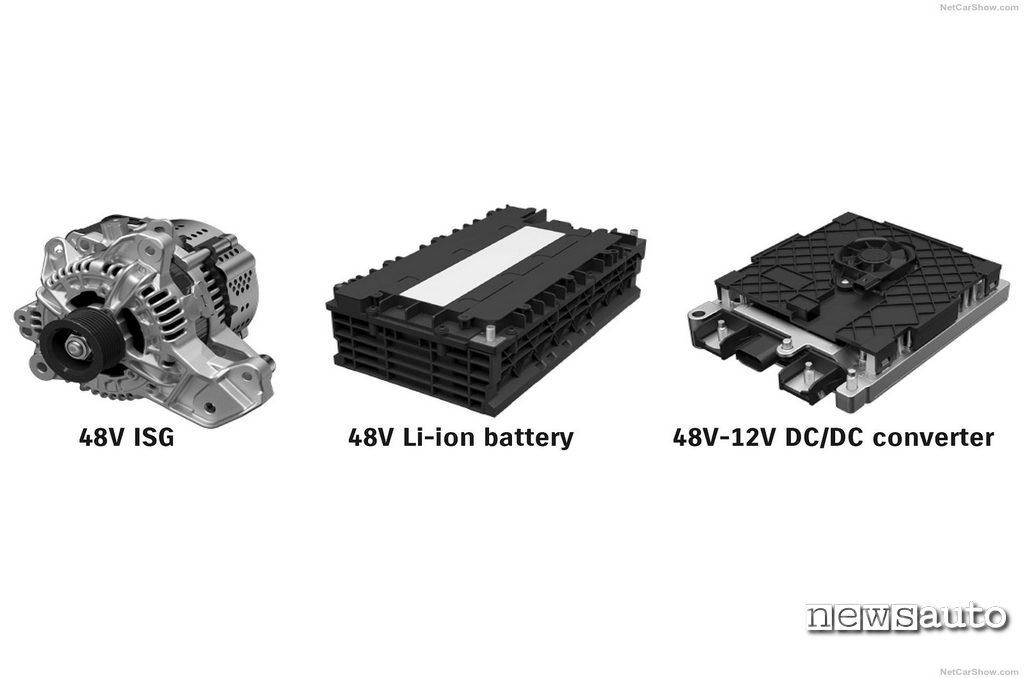 Mild Hybrid componenti del sistema Suzuki Swift Sport Hybrid a 48v, da sx l'alternatore reversibile, la batteria agli ioni di litio ed il convertitore di corrente da 48 a 12 volt