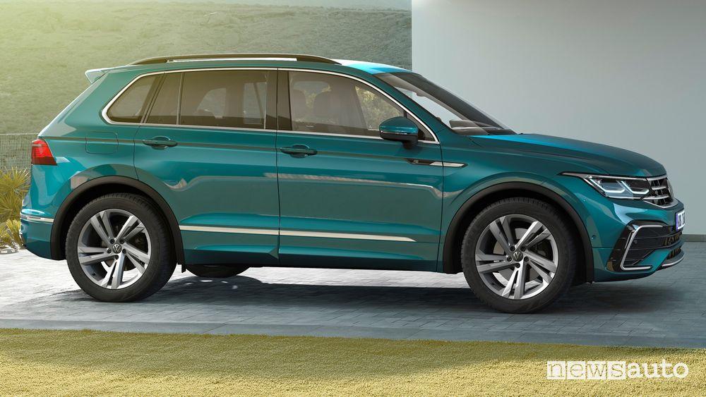 Vista laterale Volkswagen Tiguan 2021 R Line