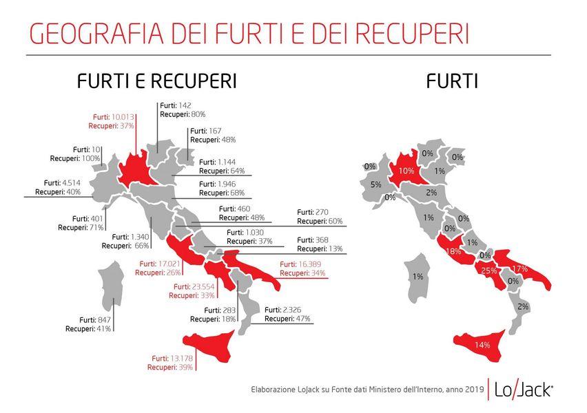 La mappa in rosso ci mostra le Regioni dove vengono rubate più auto in Italia