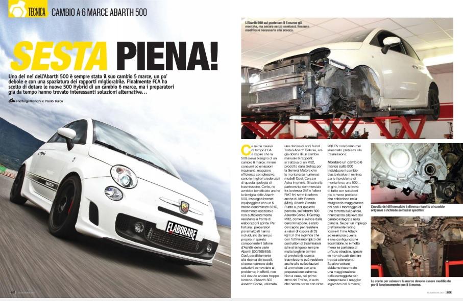 """cambio a 6 marce su Fiat 500 Abarth 500 come fare, spiegato sulla rivista """"elaborare"""" numero febbraio 2020"""