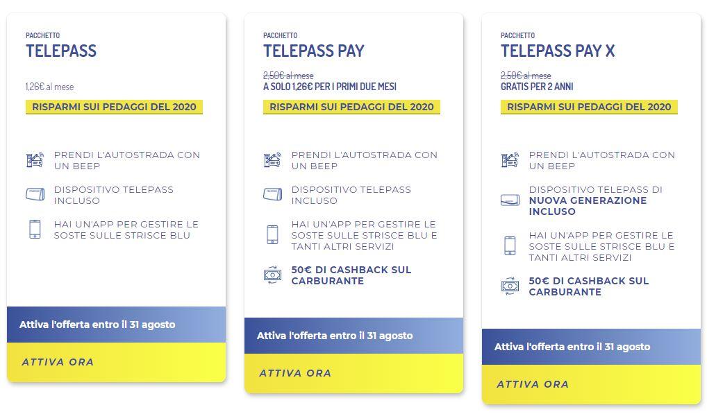 Telepass Offerte 2020, Telepass Pay e Telepass Pay X