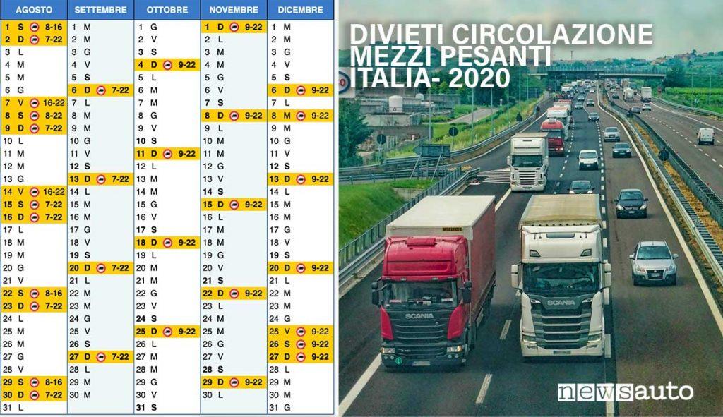 Divieti Circolazione mezzi pesanti Italia agosto settembre ottobre novembre dicembre 2020