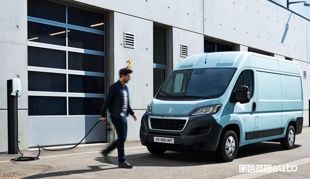 Nuovo Peugeot e-Boxer in ricarica