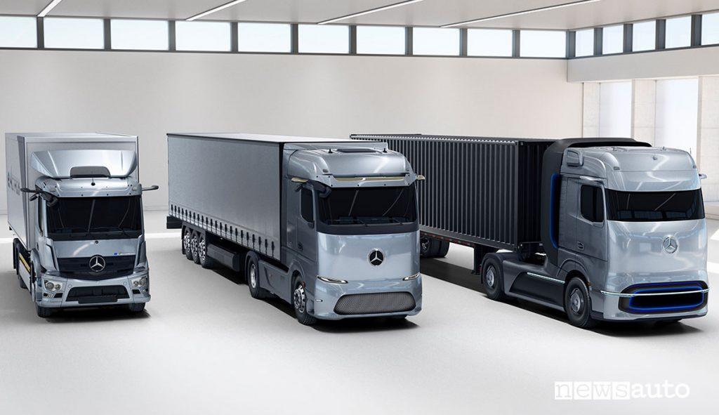 Gamma elettrificata di Mercedes-Benz Trucks. Mercedes-Benz eActros, Mercedes-Benz eActros LongHaul e Mercedes-Benz GenH2 Truck