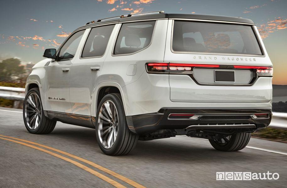 Vista posteriore Jeep Grand Wagoneer Concept