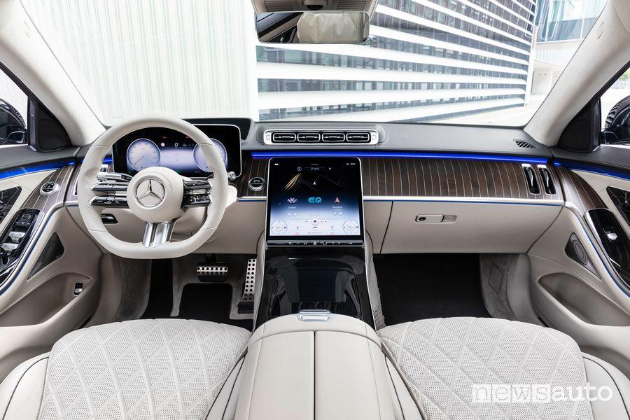 Plancia strumenti abitacolo pelle nappa beige Mercedes-Benz Classe S