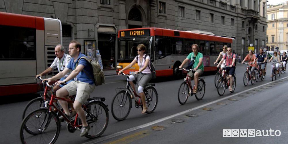 circolazione delle biciclette anche sulle strade riservate ai mezzi del trasporto pubblico
