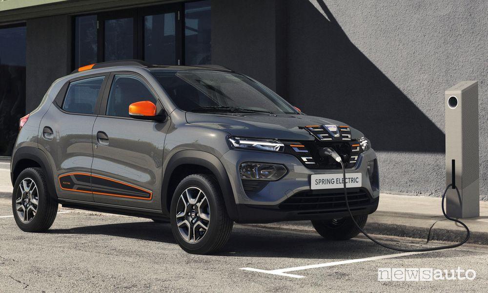 Dacia Spring Electric in ricarica da una colonnina