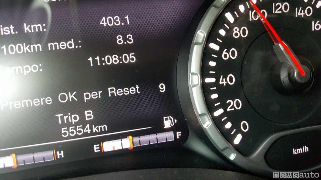 Tachimetro e display digitale sulla Jeep Renegade