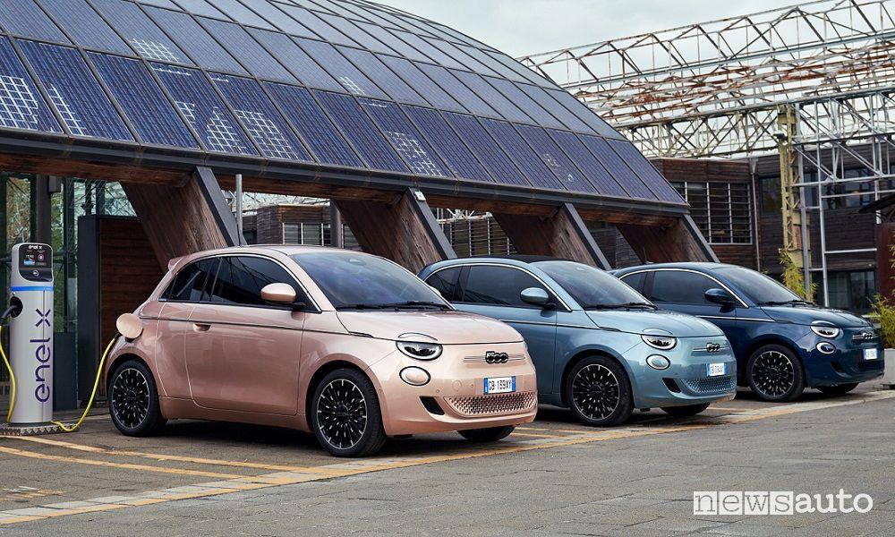 Fiat 500 elettrica, gamma allestimenti e prezzi