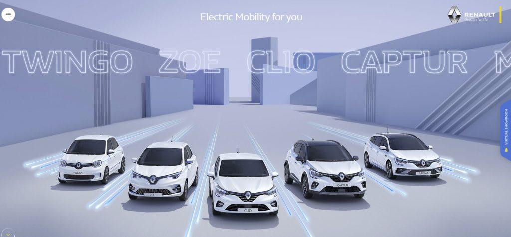 La pagina di accesso al servizio virtuale di Renault, il Virtual Showroom