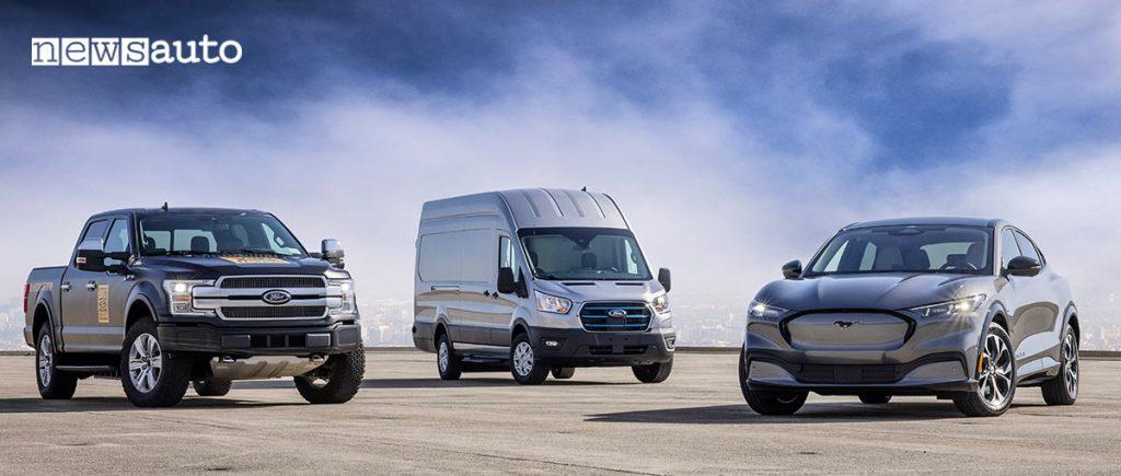 Gamma veicoli elettrici Ford: pick-up F-150, Mustang Mach-E ed E-Transit