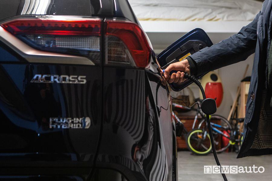 Ricarica domestica Suzuki Across ibrido plug-in che si acquista con gli incentivi dell'Ecobonus