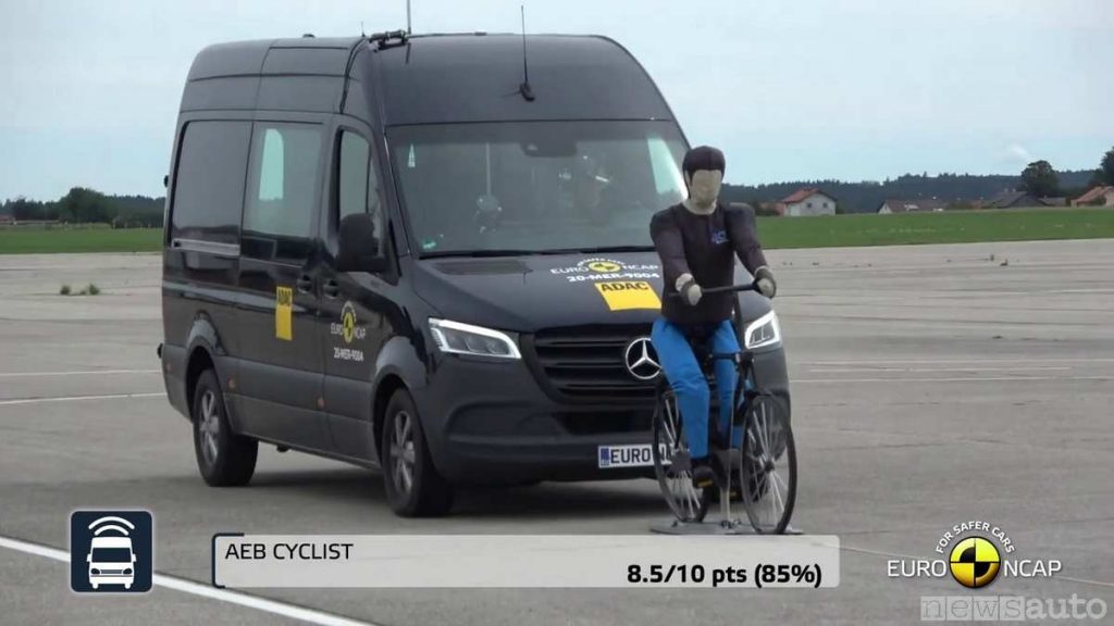 Test AEB ciclista euro ncap Furgoni Mercedes Sprinter