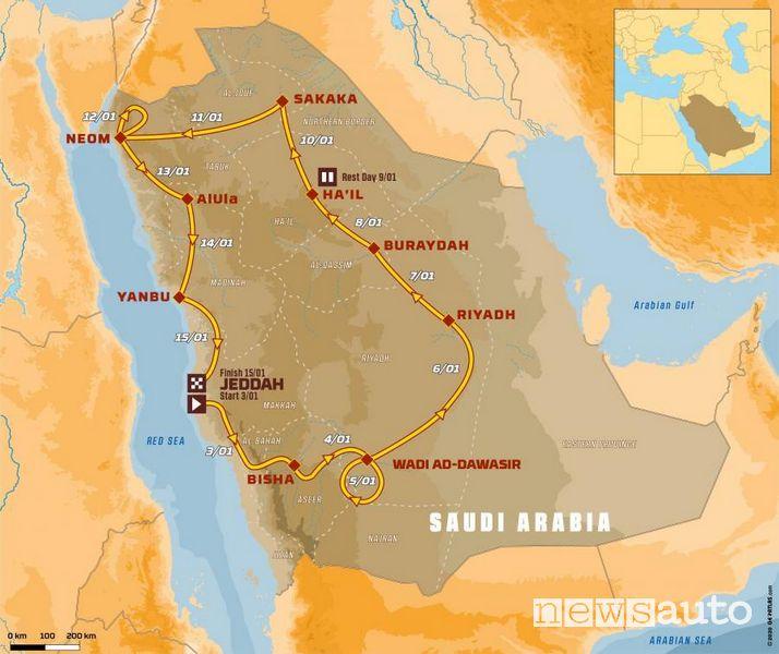 La cartina del percorso della Dakar 2021