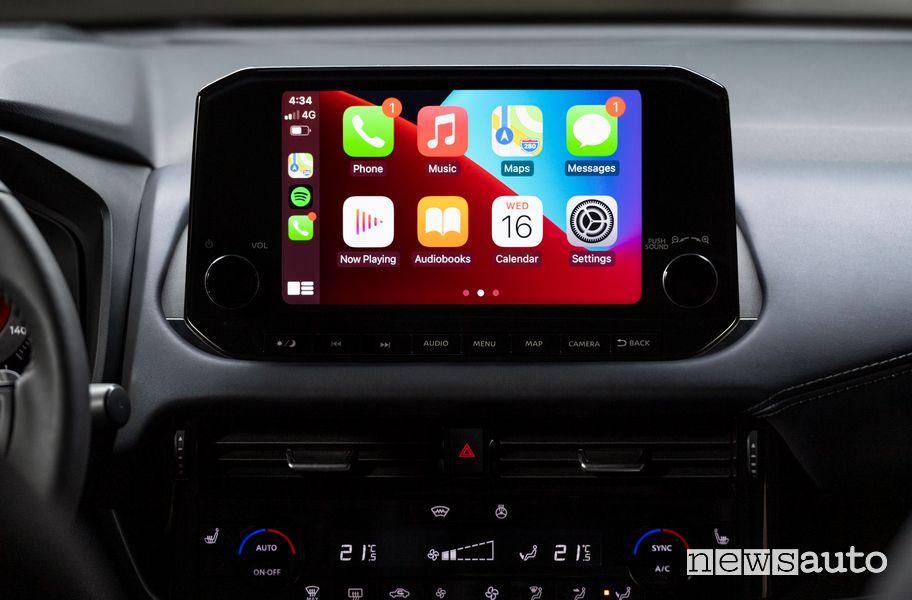 "Touchscreen infotainment 9"" con Apple Carplay abitacolo nuovo Nissan Qashqai"