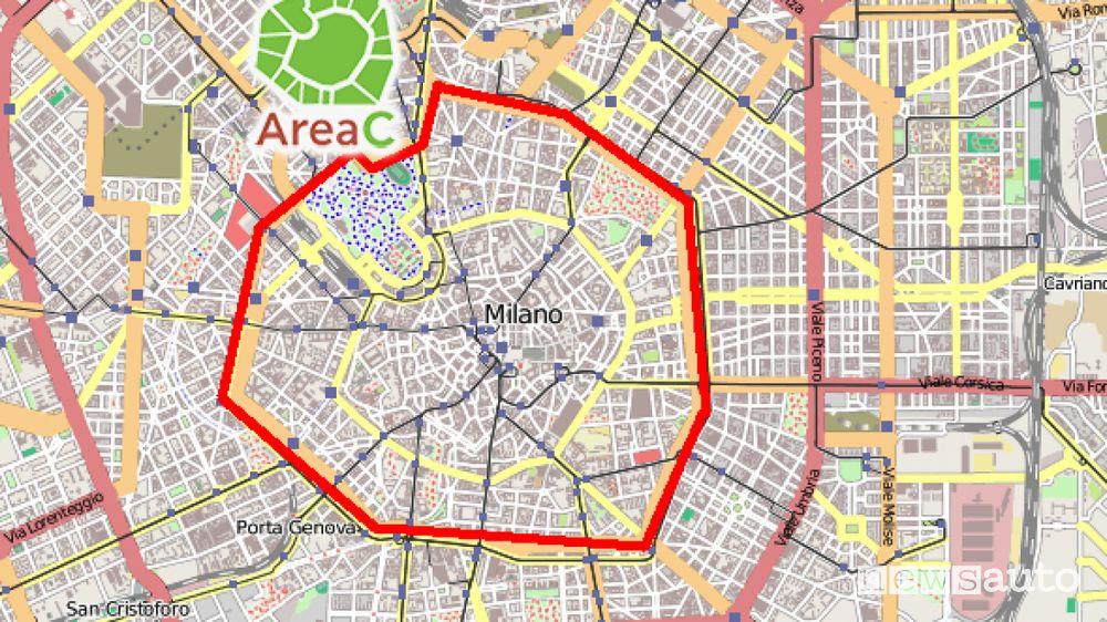 Mappa Area C di Milano