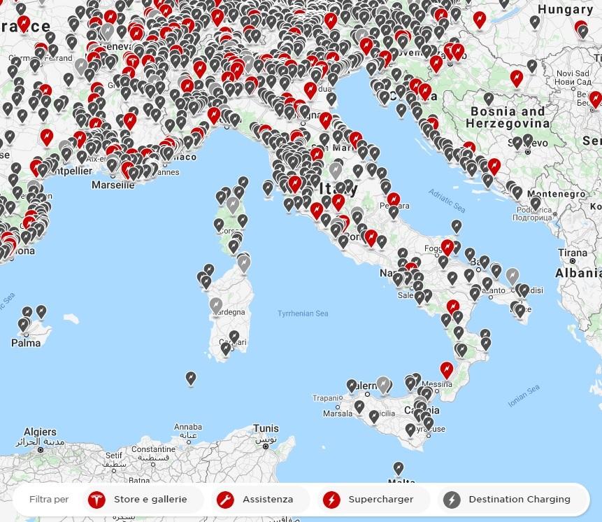 Mappa in aggiornamento dei Supercharger Tesla in Italia