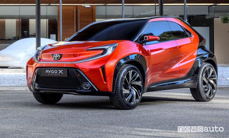Vista di profilo Toyota Aygo X prologue concept